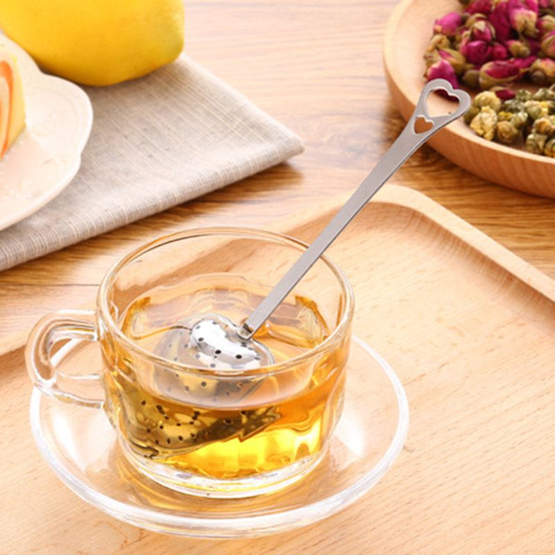 Heart Shaped 1pc Tea Leaf Tealeaves Stainless Steel Spoon Tea Ball Herb Mesh Spice Infuser Filter Squeeze pressing Strainer