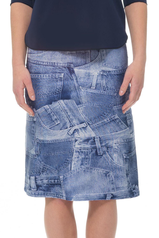 Denim Pocket A-line Swim Skirt