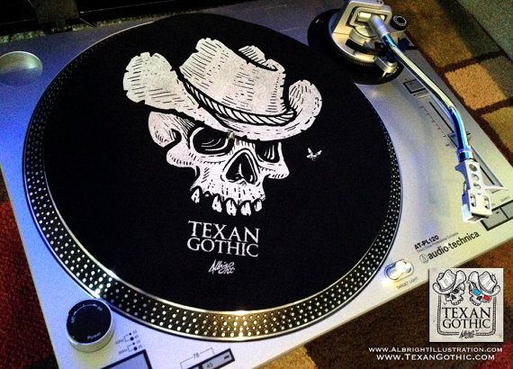 Cowboy Skull Lp Slipmat Hand Printed Texan Gothic Felt Etsy Prints Skull Sticker How To Draw Hands
