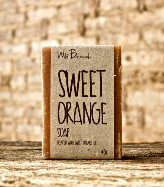 Sweet Orange Soap, 4 oz Bar, All Natural, Scented, Vegan, Handmade, Cold Process Soap, Wildflower Seed Paper