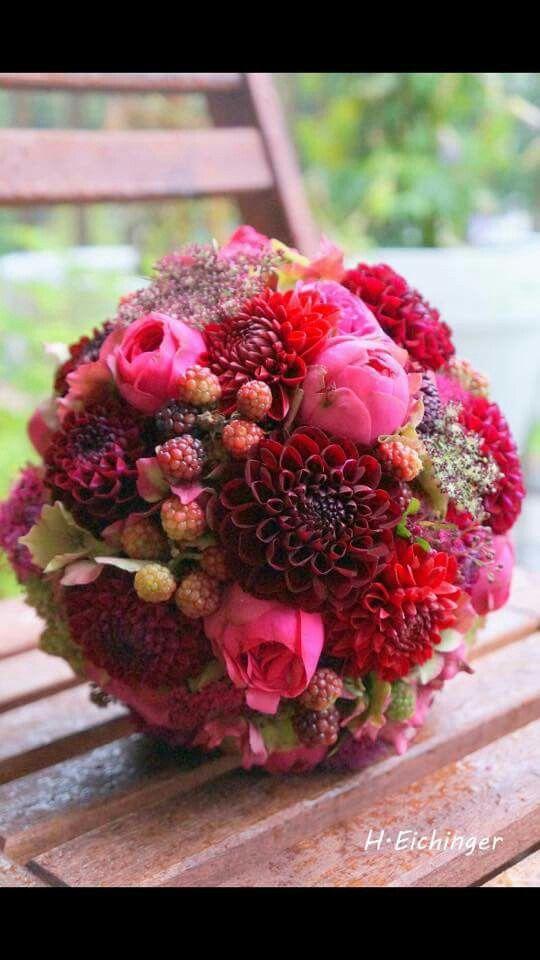 Herbst in Rot  Ideen Hochzeit  Blumenstrau hochzeit