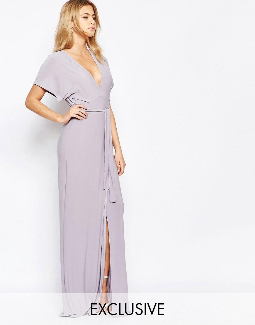 Image of love plunge tie front split maxi dress maid of honor