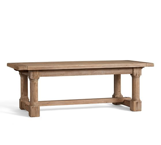 Charles Reclaimed Wood Extending Dining Table  Smoked Pine Finish Fair Pottery Barn Dining Room Tables Inspiration Design