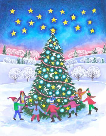 of children holding hands and dancing around a Christmas tree at ...