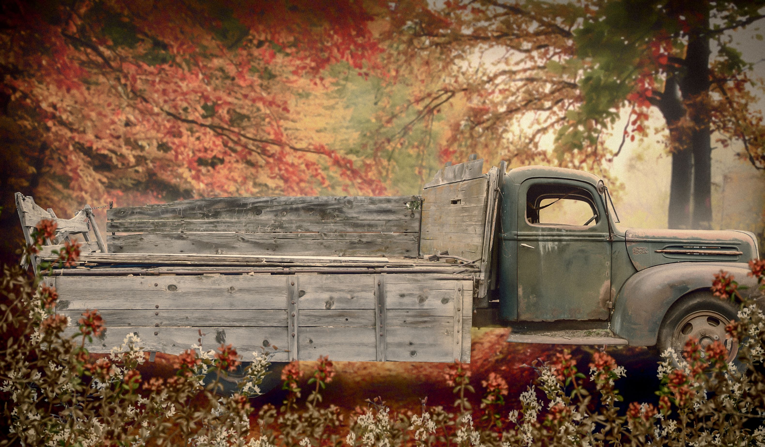 Old Truck Fall Family Photo Background digital background