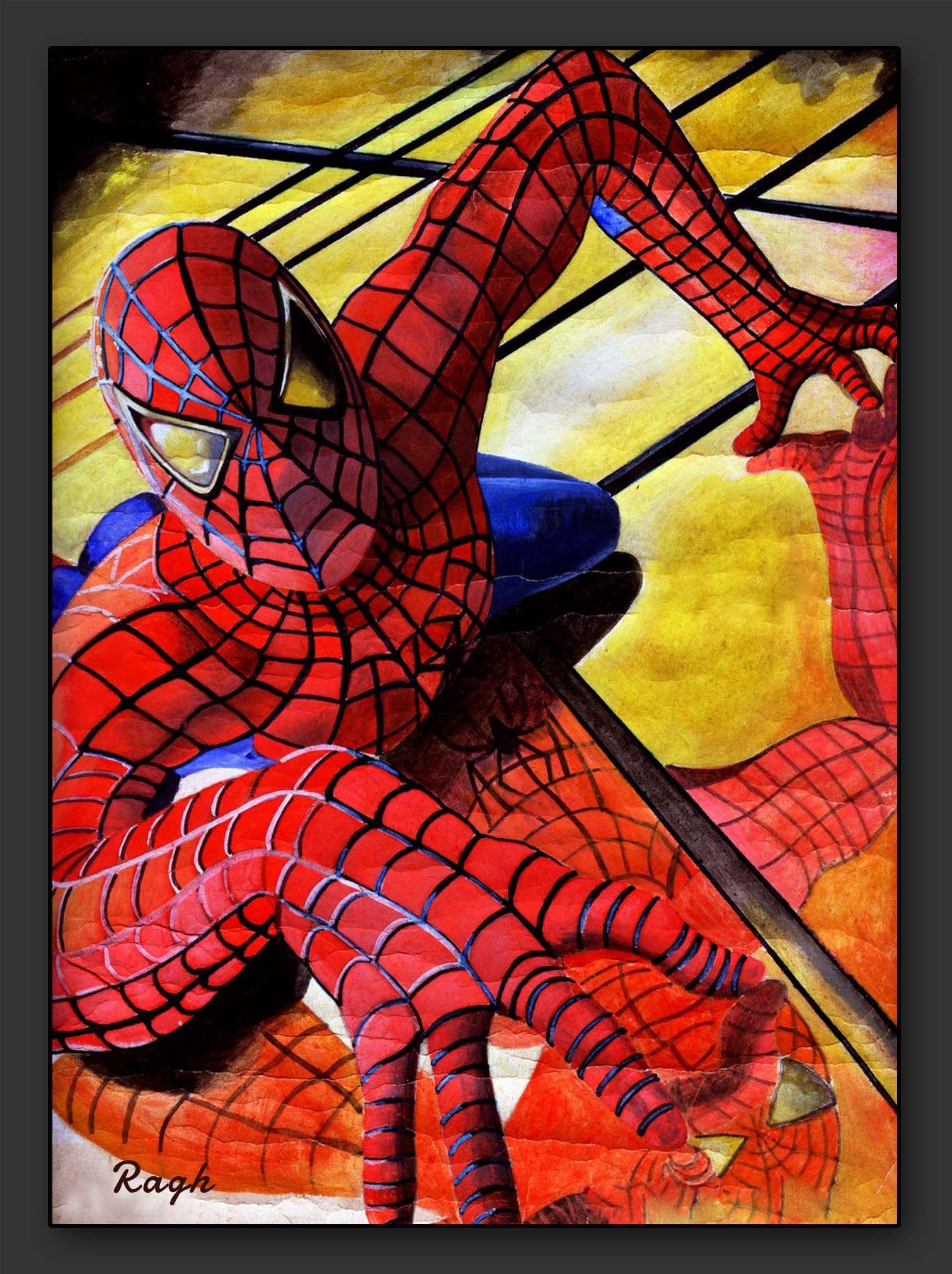 Water Coloring Spiderman Marvel Wallpaper Watercolor