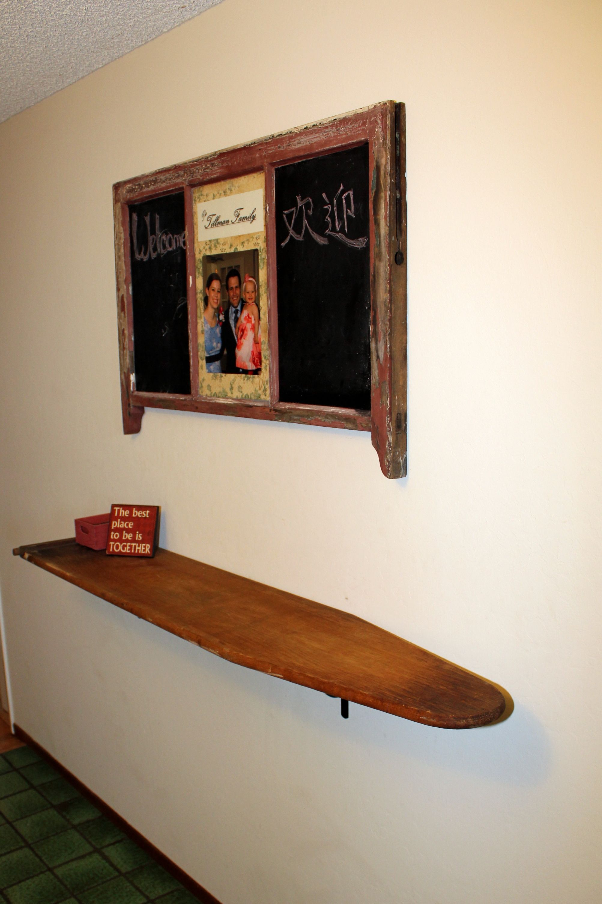 Shelf Is An Old Wooden Ironing Board Upcycle Recycle Salvage Diy