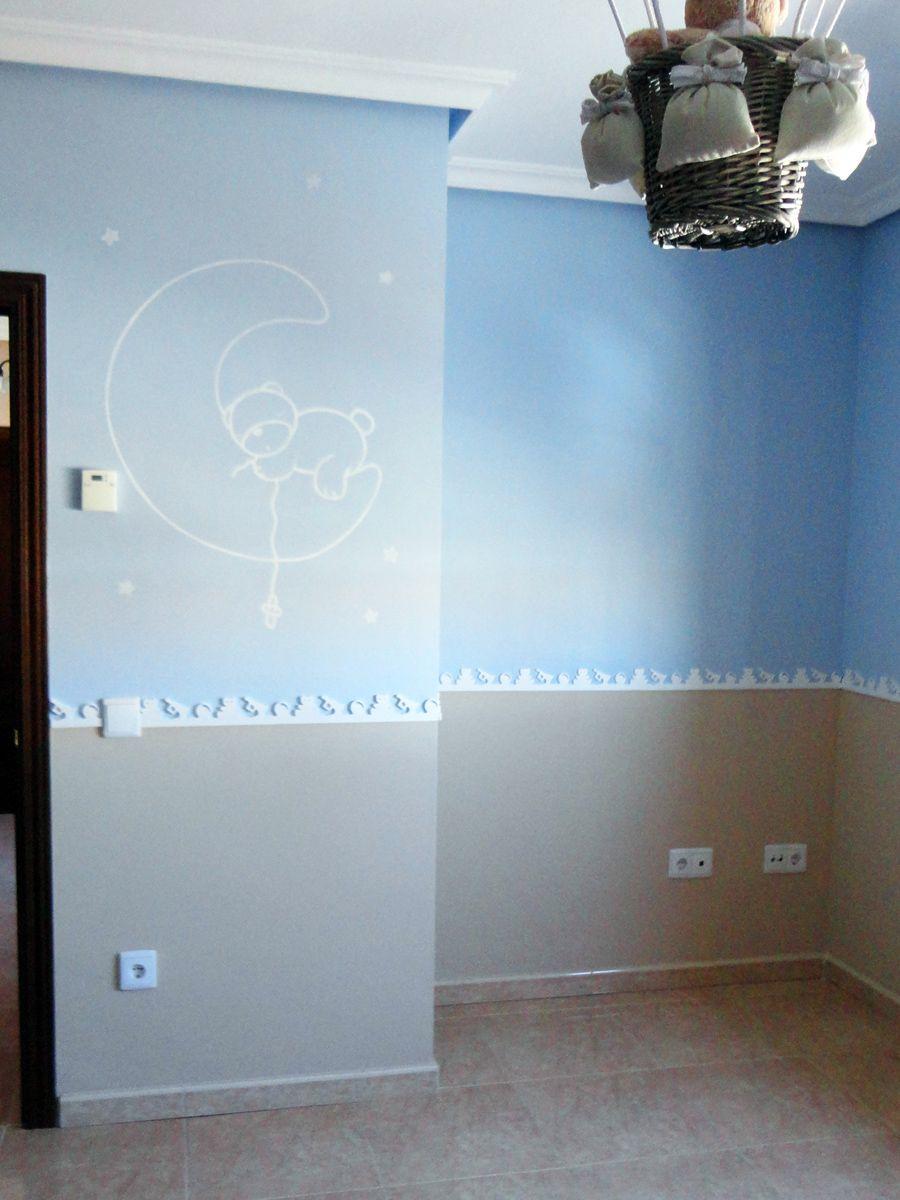 osito en la luna pintado en pared | Para mi Bebe | Pinterest | Mural ...
