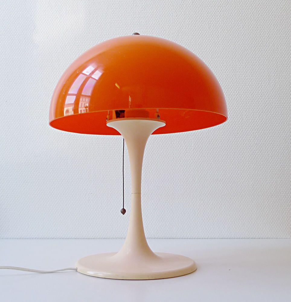 Lampe Champignon Jumo Type Knoll Tulipe Vintage Annees 60 70 Design 1970 Orange 1970