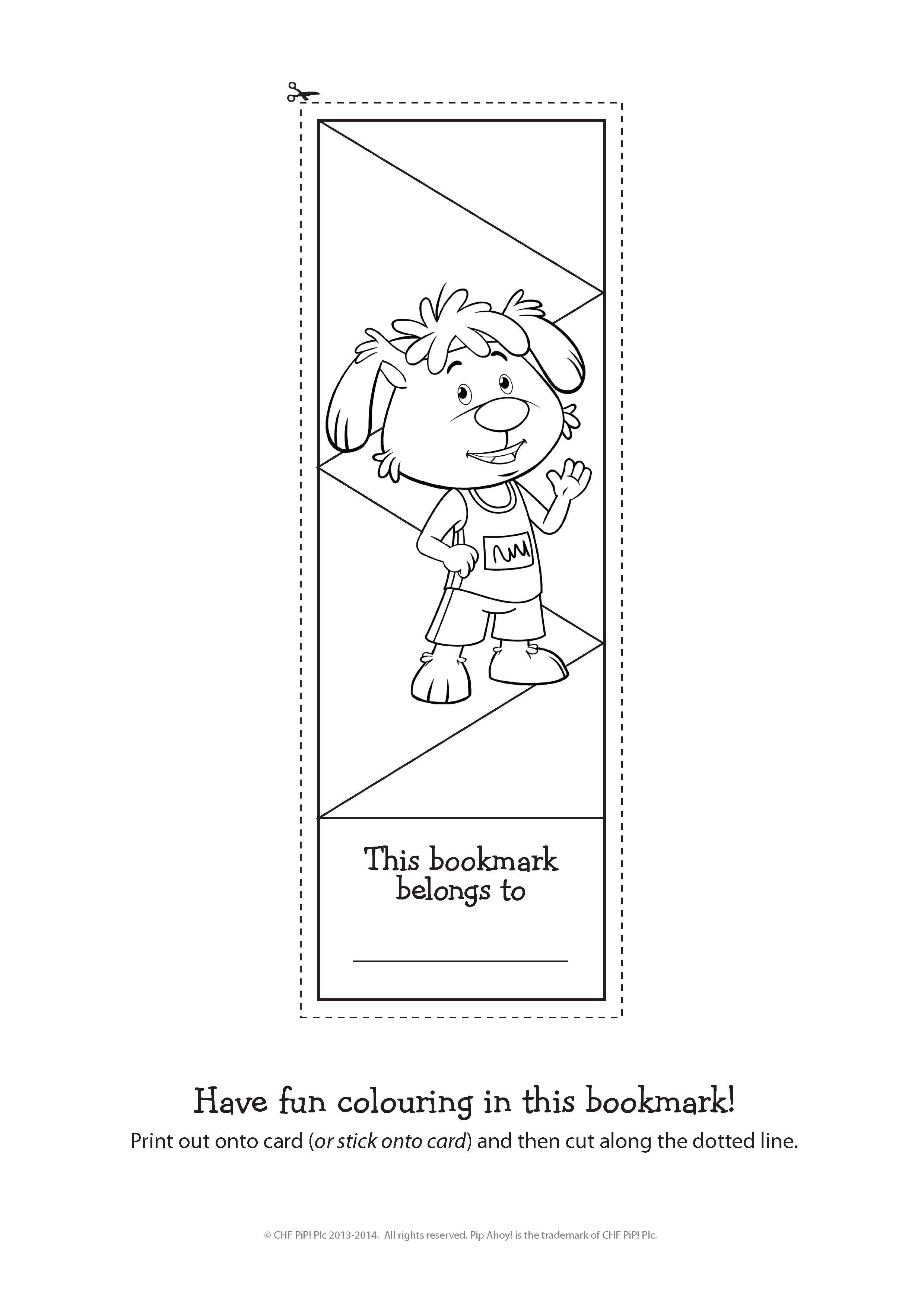 Pip Bookmark Colouring In Activity To Celebrate The