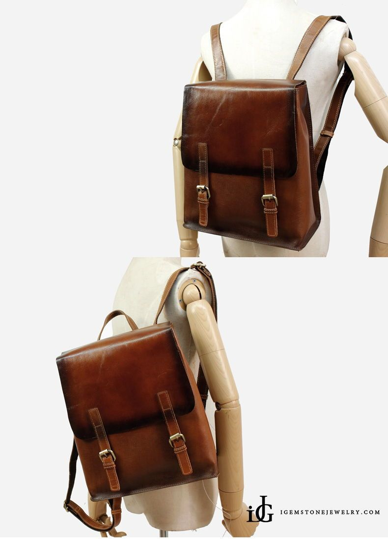 f015b45fdc7 Vintage Womens Brown Leather Backpack Purse Cool Backpacks for Women ...