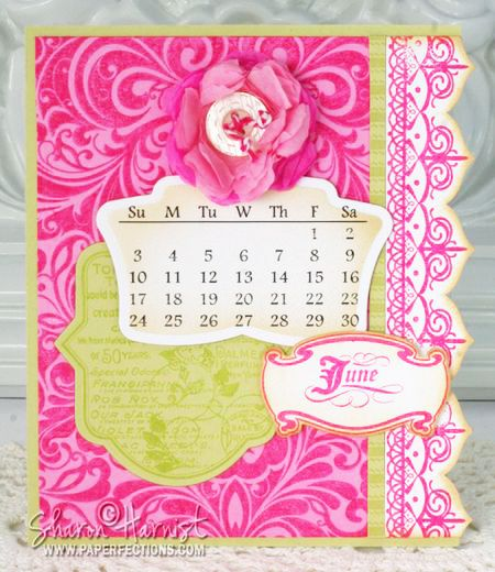 Calendar by Sharon Harnist using Heart Scroll Background Stamp, Botanical Medallions, ClassicNew May release stamp sets from JustRite!