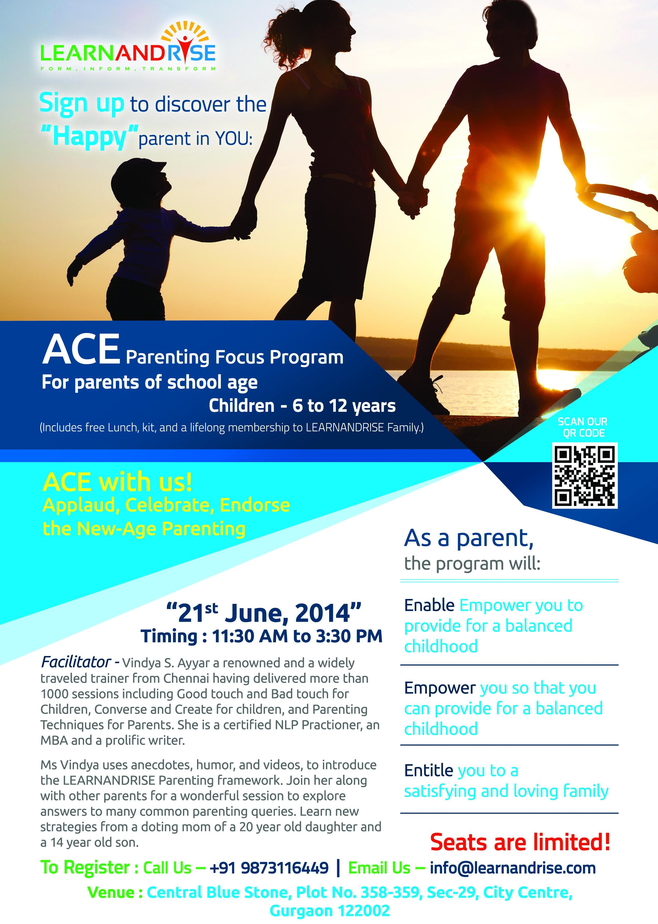 """Todays parents are transforming themselves to meet the demands of the current life challenges without losing on the """"real"""" parenting! LEARNANDRISE offers to help them in the transformation.  Attend our session to find out."""
