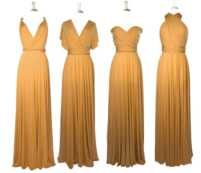 Mustard bridesmaid dress custom lengths convertible