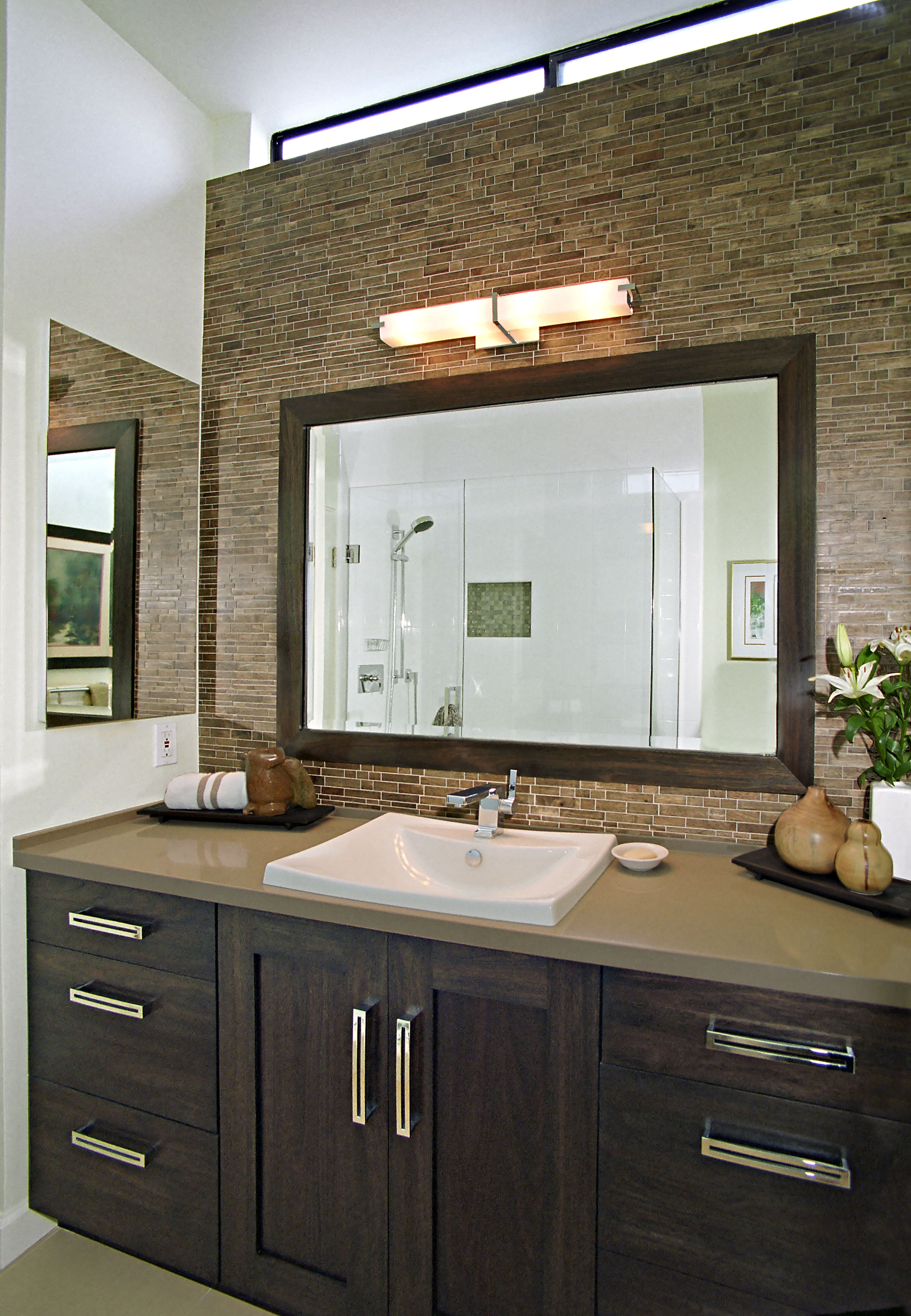Above counter sink large framed mirror glass tile backsplash above counter sink large framed mirror glass tile backsplash neutral color pallet dailygadgetfo Choice Image