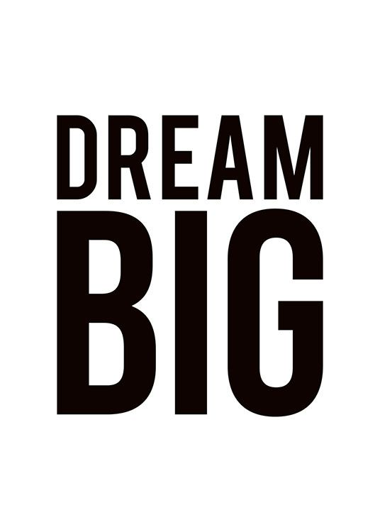 Black and white typography poster print dream big nice prints online