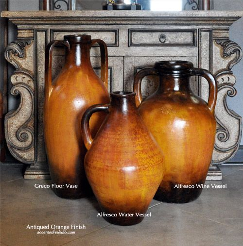 Tuscan Floor Vases In Antiqued Orange New Shapes Finish Accents
