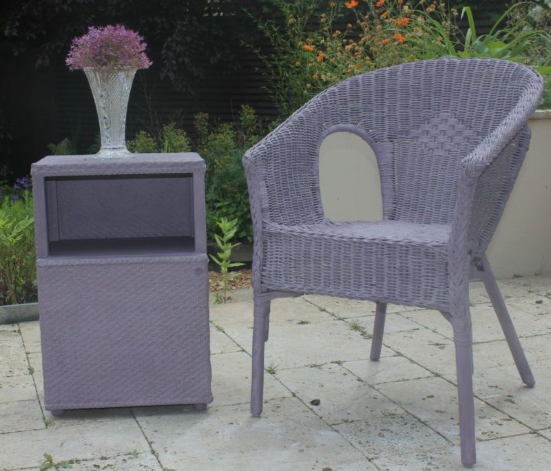 Vintage LLoyd loom bedside cabinet and matching wicker chair annie ...