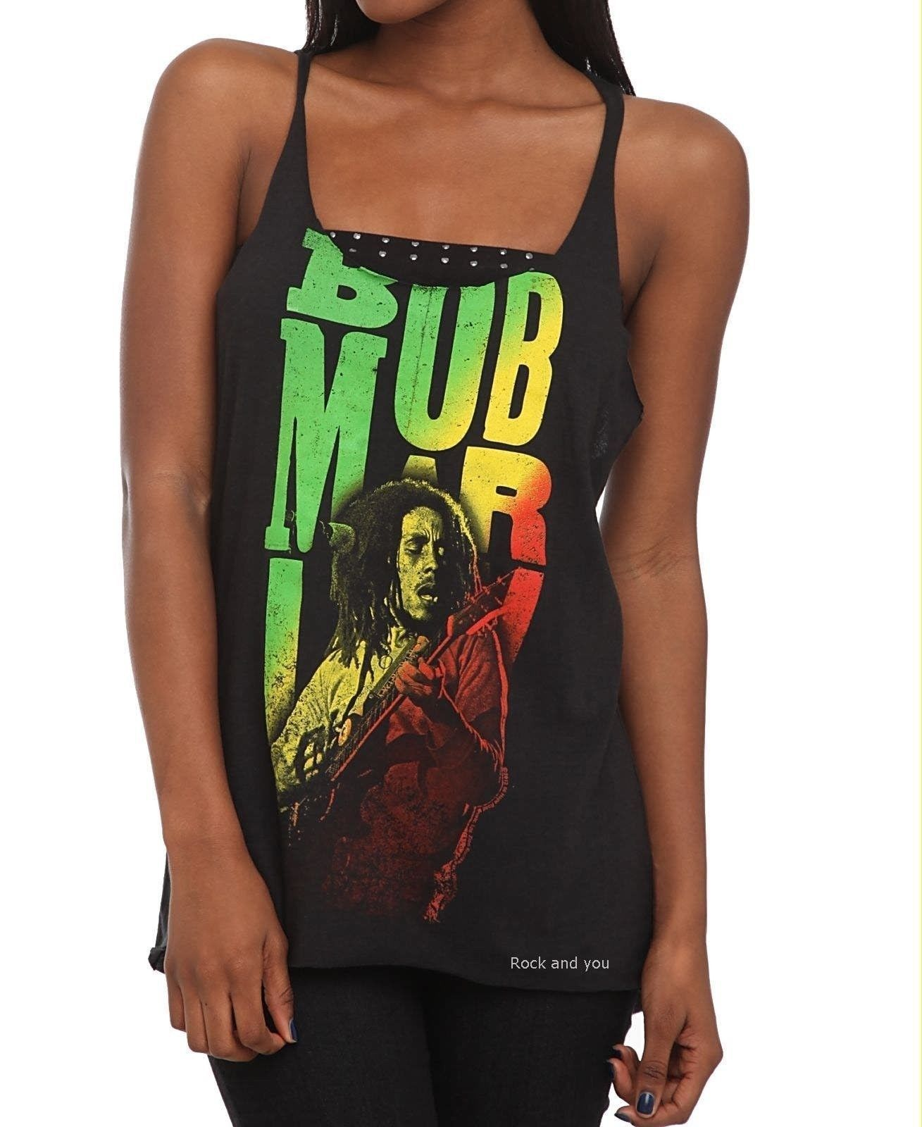 Bob Marley T-Shirt Guitar Reggae Rasta rock Girls Tank Top Official M L 2XL  NWT