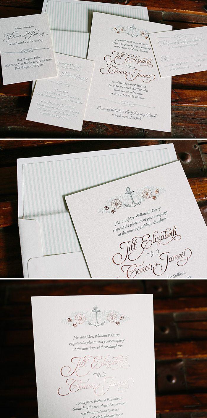 Vintage floral + nautical inspired custom letterpress wedding ...