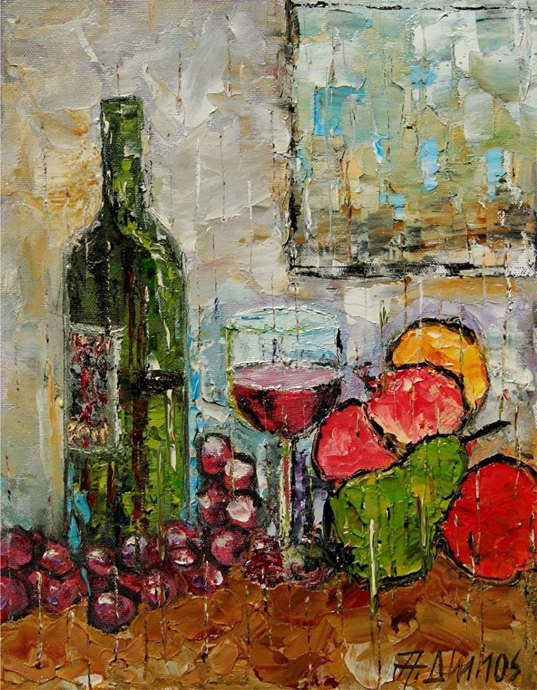 Andre Dluhos Still Life Wine Bottle Glass Fruit Grapes Original Oil