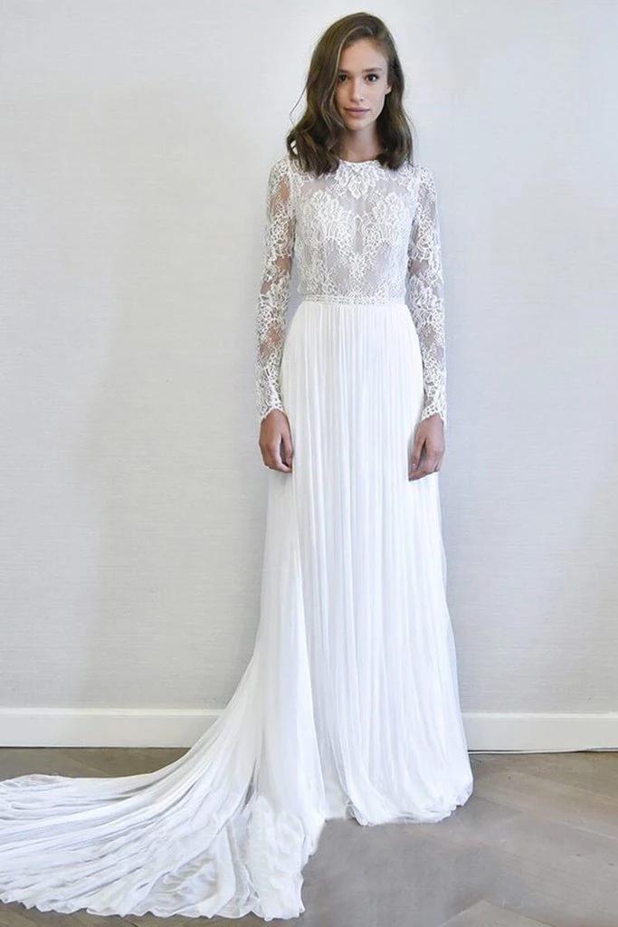 Ivory Long Sleeves A Line Wedding Dresses Chiffon