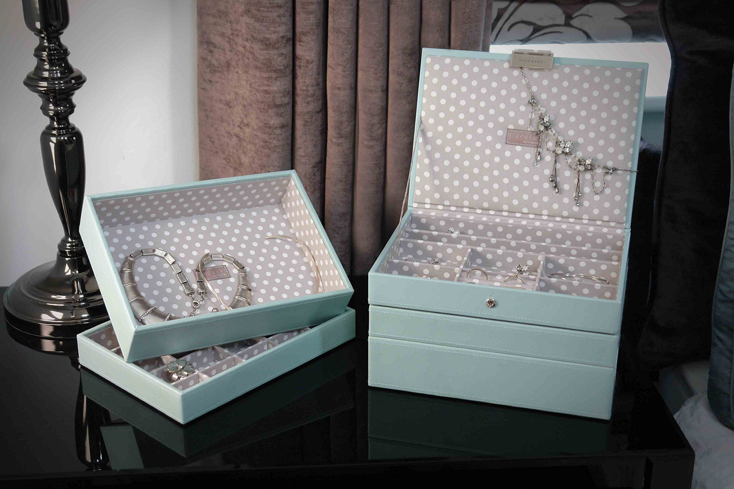 Amazoncom STACKERS jewellery box classic duck egg blue gray
