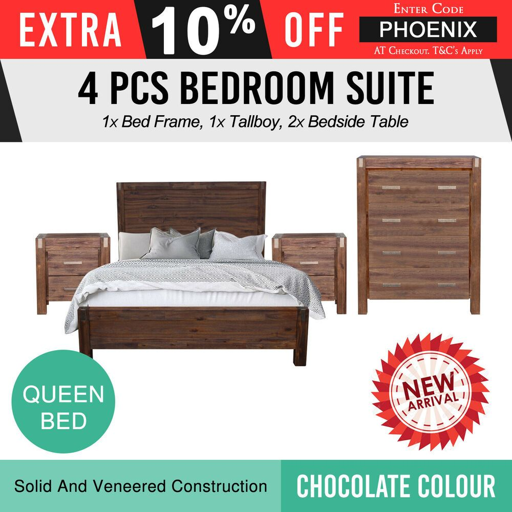 New Bedroom Suite Mdf Aesthetic Strong Legs 4pcs Queen Chocolate