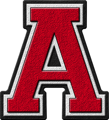 Presentation Alphabets Cardinal Varsity Letter A