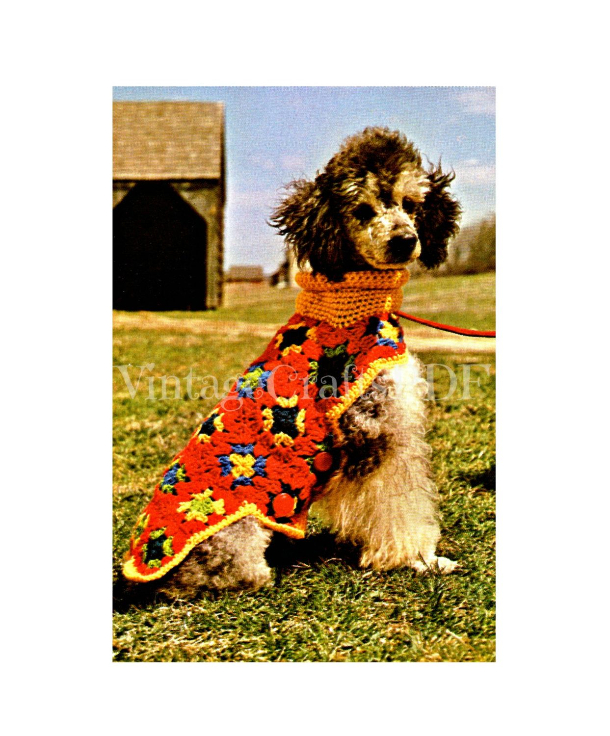 1970s granny square putting on the dog coat vintage crochet granny square putting on the dog coat vintage crochet patterndog coat dog jacket dog sweater easy crochet pattern puppy coat sweater by vintagecraftspdf on bankloansurffo Image collections