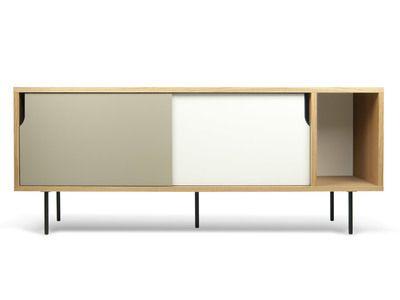 Buffet bas   Meuble TV en bois placage chêne DANN Blanc Gris mat, Pieds 991cc2f921b2