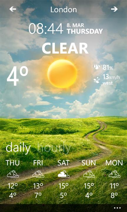Weather Flow für sonnige Aussichten app WindowsPhone