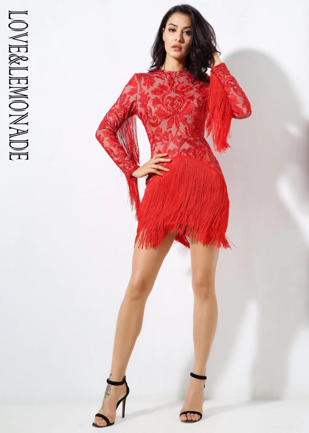 Love Lemonade Flower Rattan Embroidery Tassel Dress Long Sleeves Slim Dress Red Black White Lm0380 Fashion Mini Dress Fringe Dress Dresses [ 1400 x 1000 Pixel ]