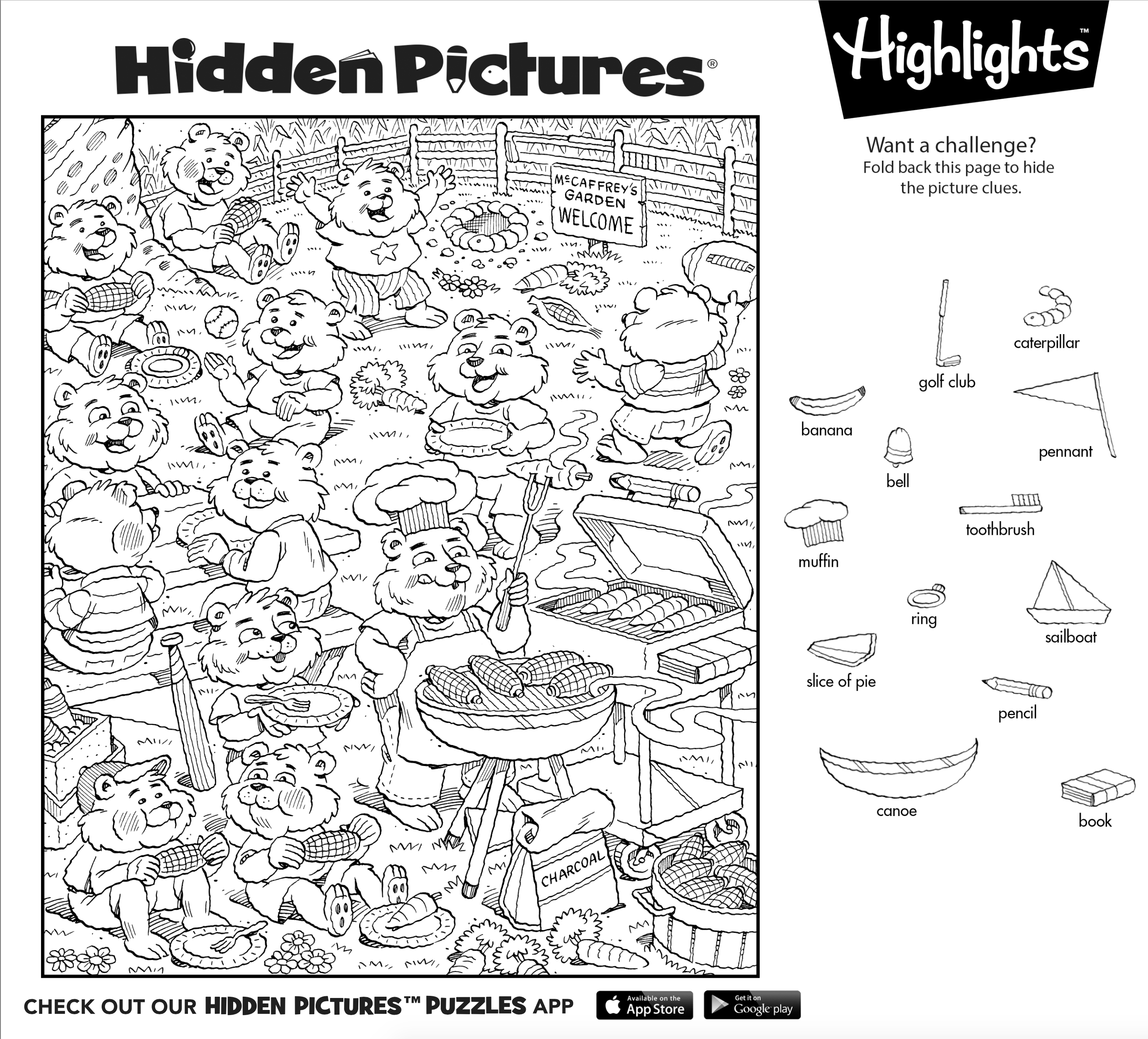 Garden Hidden Objects Worksheet