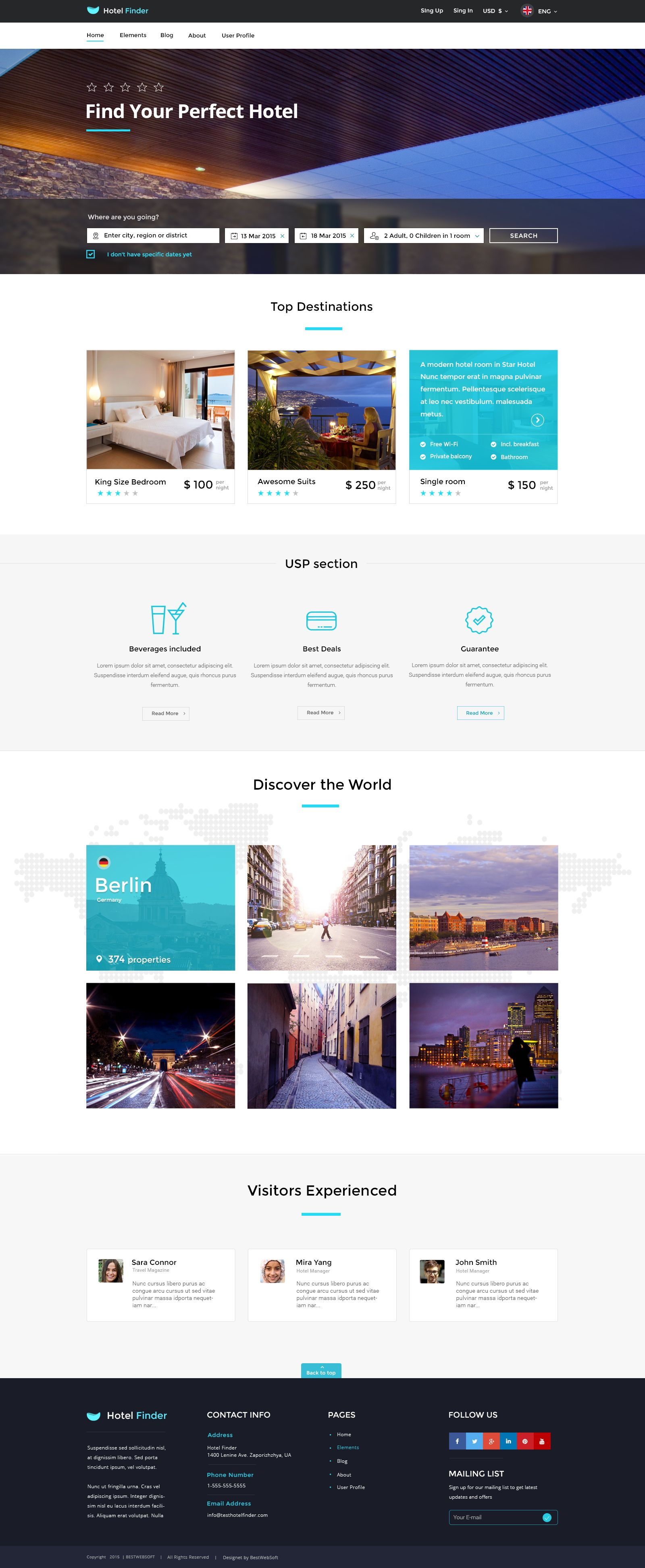 Hotel Finder Online Booking HTML Website Template Pinterest - Html site template