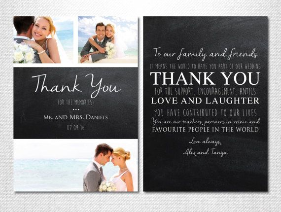 Chalkboard Thank You Wedding Cards Photo Printed