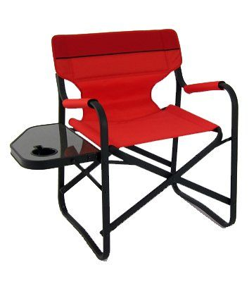 Designers Aluminum Folding Deck Chair W Side Table Red Camping