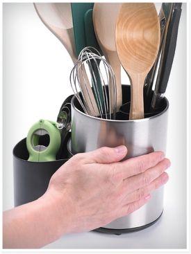 kitchen tool crock rustic island ideas rotating storage organization progressive international