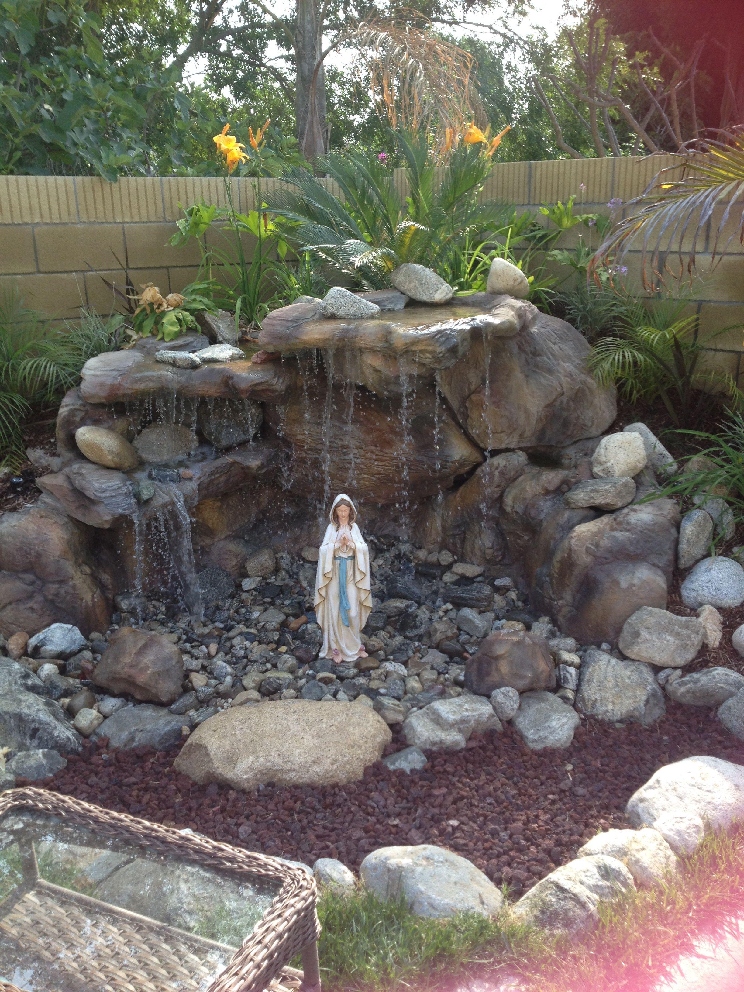 Backyard Mary Grotto Garden Landscaping Prayer Meditation Design Marian