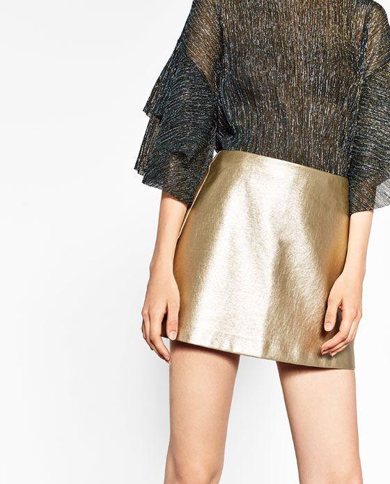 ff0144e27 Image 3 of SHORT METALLIC SKIRT from Zara | Fashion | Faldas cortas ...