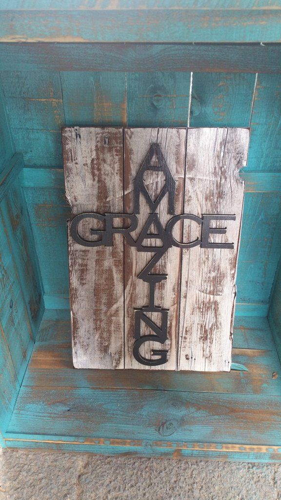 Cutout Wooden Sign Amazing Grace on Barnwood Picture Frame sign ...