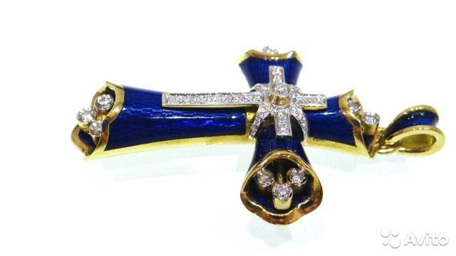 Золотой крест с эмалью и бриллиантами 750 пробы купить в Москве на Avito —  Объявления на сайте Avito 1eee12eb246
