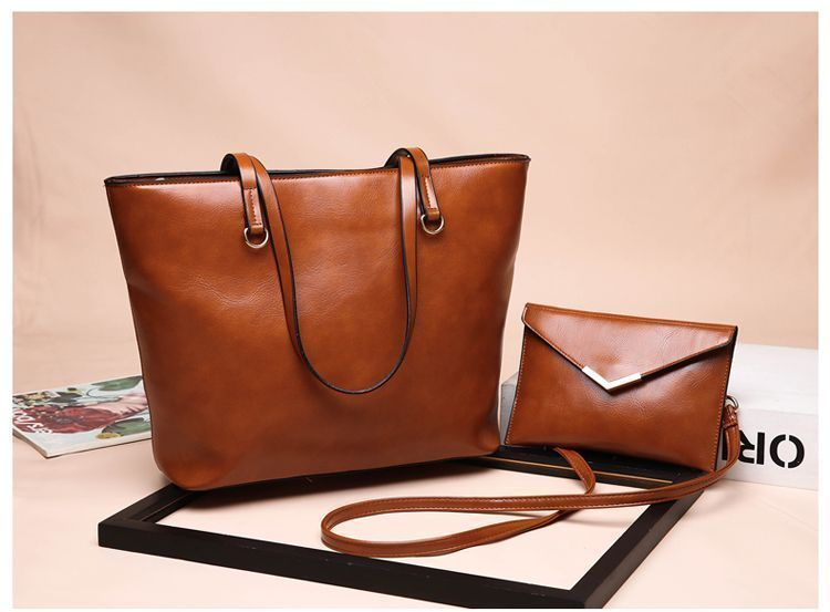 2f448a3b7979 Tow Matching PU Leather Large Purse And Small Shoulder Bag Goes Both  Together Made With PU Leather Oil Wax Shiny Material For Office Ladies  Designed Style ...