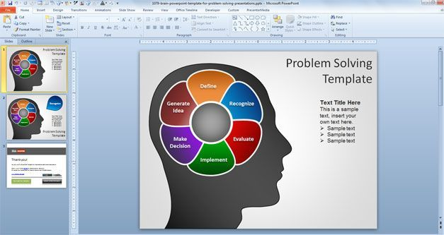 Brain Powerpoint Template For Problem Solving Presentations