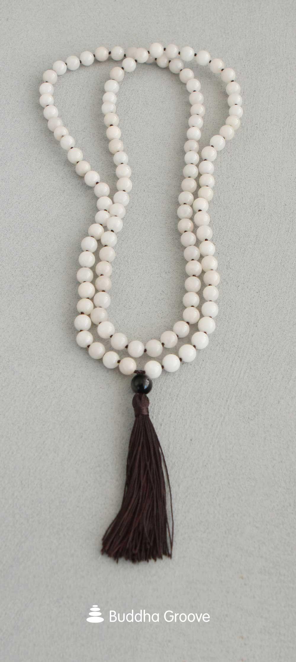 Mala Chain 108 Pearls Cloudy Quartz Gold Onyx Obsidian Achat 6 mm