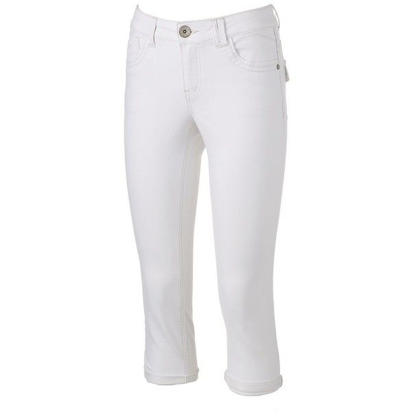 Women's Artisan Crafted by Democracy Embroidered Capri Jeans ($45) ❤ liked on Polyvore featuring jeans, natural, capri jeans, summer capris, print jeans, cuff jeans and zipper jeans