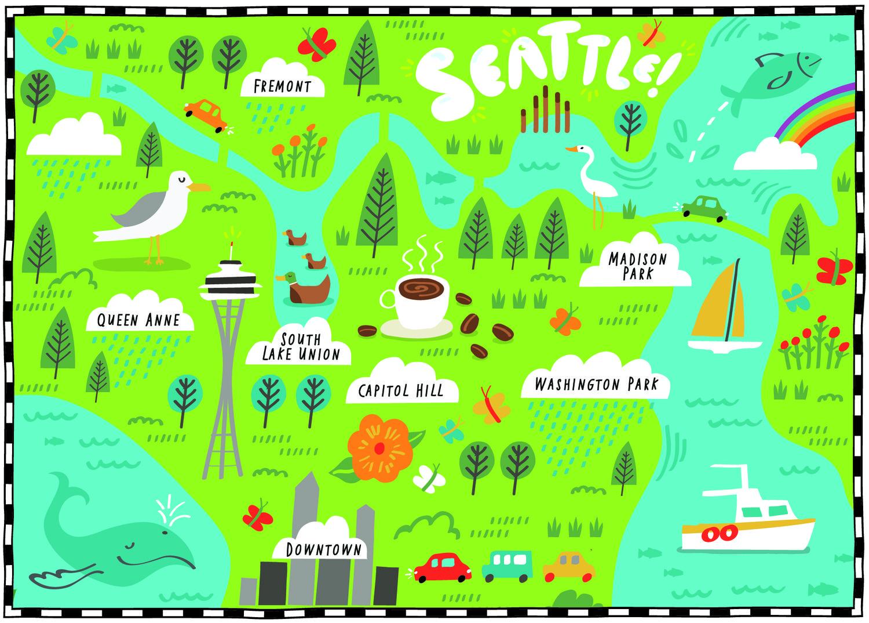 Wall Street Journal Seattle illustrated map by Nate Padavick www