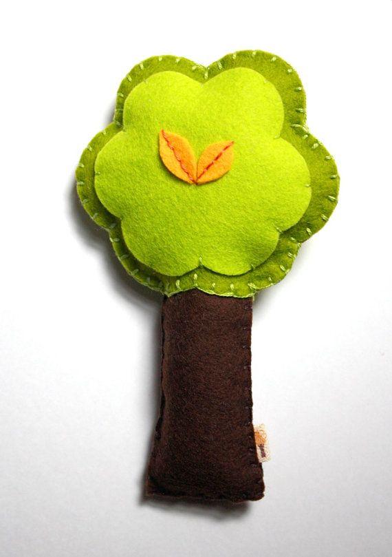 Boy Woodland Nursery  Green Tree Rattle / with Yellow Leaves / by stephaniemonroe, $19.00