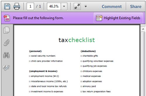 free printable tax checklist to organize your tax documents | tax
