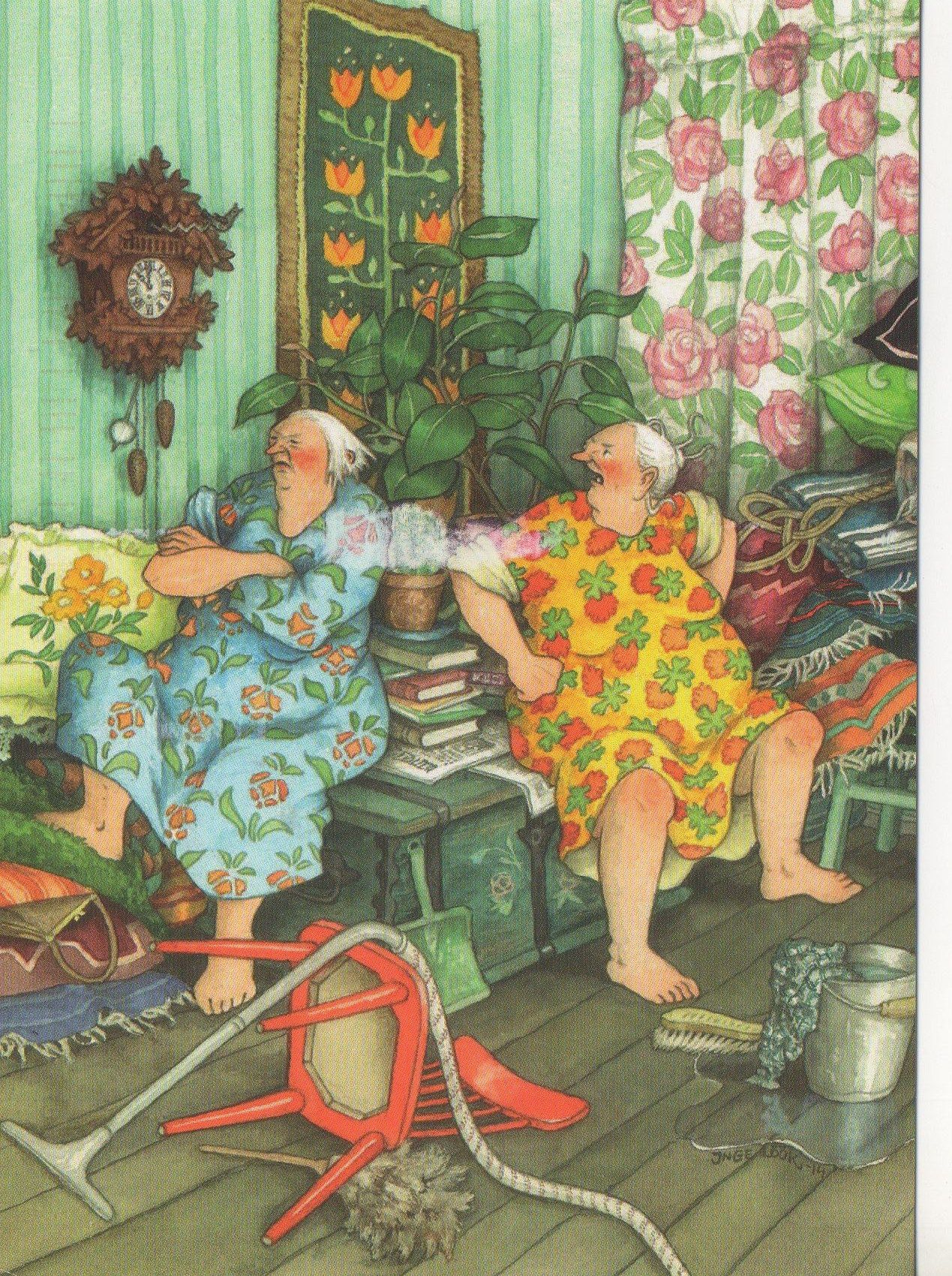Two old ladies mad at each other...a postcard I received from Finland thru Postcrossing!